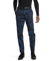 Valentino Camo Printed Slim Leg Pants - Blue