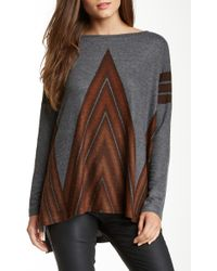 Go Couture Printed Elbow Patch Dolman Sweater - Gray