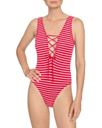 Robin Piccone Sailor Lace-up Plunge One-piece Swimsuit - Red