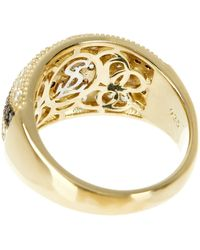 Suzy Levian 14k Gold Plated Sterling Silver Striped Chocolate Cz Ring - Brown