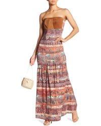 Sky - Leather Bodice Maxi Dress - Lyst