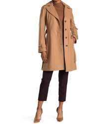 MICHAEL Michael Kors Missy Belted Wool Blend Trench Coat - Natural
