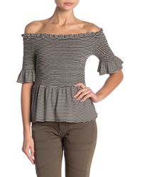 Vince Camuto - Off-the-shoulder Striped Blouse - Lyst