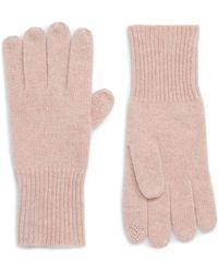 Halogen (r) Rib Knit Cashmere Gloves - Pink
