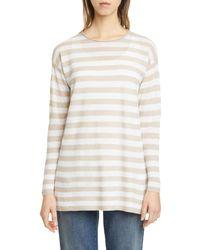 Eileen Fisher Stripe Organic Linen & Cotton Tunic - White
