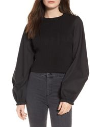 TOPSHOP - Mixed Media Puff Sleeve Top - Lyst