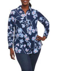Foxcroft - Ivy Coastal Floral Shirt (plus Size) - Lyst