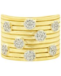 Freida Rothman Fleur Bloom Empire Layered Wide Ring In 14k Gold - Plated & Rhodium - Plated Sterling Silver - Metallic