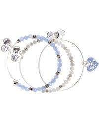 ALEX AND ANI - Shiny Silver Colour Infusion Mom Bracelet Set - Set Of 3 - Lyst