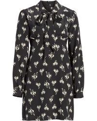 RE/DONE '60s Bow Neck Long Sleeve Minidress - Black