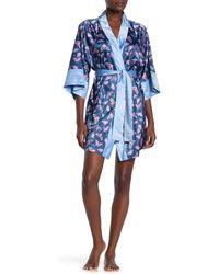Munki Munki Moth Print Satin Kimono Robe - Blue