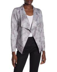 Love Token Tie-dye Draped Collar High/low Jacket - Gray