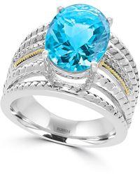 Effy - 925 Sterling Silver/18k Yellow Gold Diamond Blue Topaz Ring - Lyst