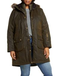 Barbour Thrunton Waxed Cotton Jacket With Faux Fur Trim - Green