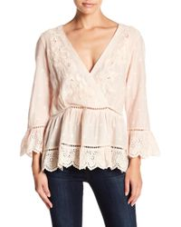 Love Sam - Embroidered Surplice Neck Blouse - Lyst