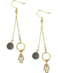 Charlene K - 14k Gold Over Sterling Silver Labradorite Bead & Crystal Hamsa Drop Earrings - Lyst