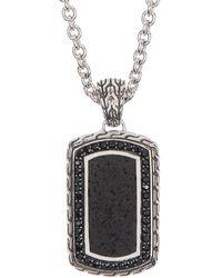 John Hardy Men's Silver Classic Chain Black Stone Dog Tag Pendant Necklace - Metallic