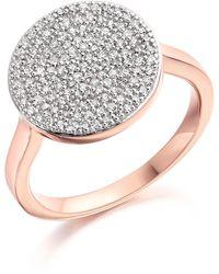 Monica Vinader 18k Rose Gold Plated Sterling Silver Ava Disc Ring - 0.350 Ctw - Metallic