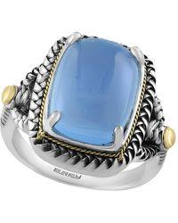 Effy Fine Jewellery 18k & Silver 10.10 Ct. Tw. Quartz Chalcedony Ring - Blue