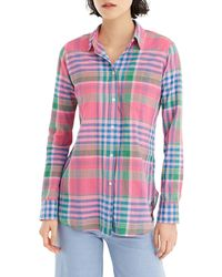 J.Crew Plaid Classic Fit Tunic Shirt - Red