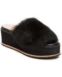 Taryn Rose - Pearla Genuine Dyed Long Hair Lamb Fur Flatform Sandal - Lyst