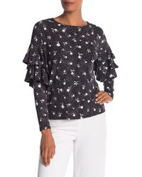 Cece by Cynthia Steffe - Ruffle Sleeve Patterned Shirt - Lyst
