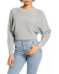 Leith Dolman Sleeve Crop Crewneck Sweater - Grey