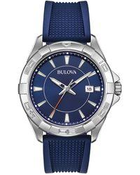 Bulova Men's Blue Rubber Silicon Strap Sport Watch, 44mm