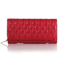 Zenith Quilted Leather Clutch - Red