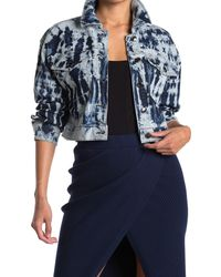 GOOD AMERICAN Tie Dye Cropped Denim Jacket - Blue