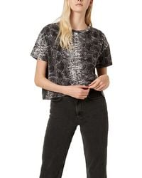 French Connection Snakeskin Print Crop T-shirt - Black