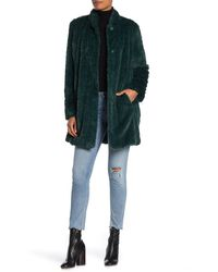 Kenneth Cole Shaggy Faux Fur Coat - Green
