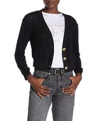 Project Social T Button Front Knit Cardigan - Black