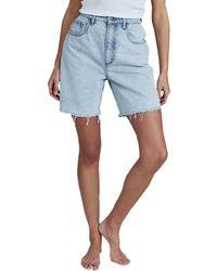 Cotton On Straight Denim High Waist Bermuda Shorts - Blue