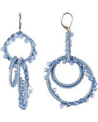 Rebecca Minkoff - Thread Wrapped Interlocking Hoop Drop Earrings - Lyst