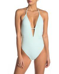 The Bikini Lab - Solid Plunge Shirred One-piece - Lyst