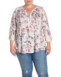 Lucky Brand Floral Knit Blouse (plus Size) - Pink