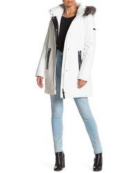 10 Crosby Derek Lam Genuine Fox Fur Trim Leather Trim Hooded Down Puffer Jacket - White