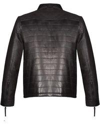 Flynt Leather Front Zip Jacket - Black