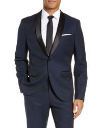 Calibrate Extra Trim Fit Shawl Dinner Jacket - Blue