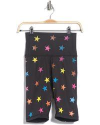 Chrldr Rainbow Star Print Biker Shorts - Black