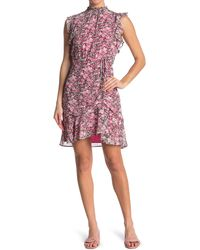Sam Edelman High Neck Ruched Dress - Pink