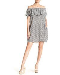 Soprano Off-the-shoulder Patterned Dress - Black