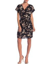 Bobeau - Floral Printed Surplice Neck Dress - Lyst