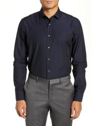 Calibrate Trim Fit Microdot Dress Shirt - Blue