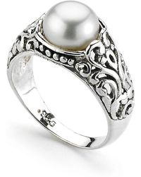 Samuel B. - Sterling Silver Balinese Design Round Freshwater 7.5-8mm Pearl Ring - Lyst
