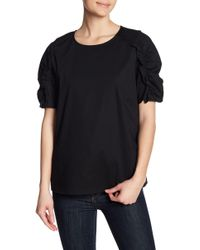Pleione - Sinched Sleeve Mixed Media Blouse - Lyst