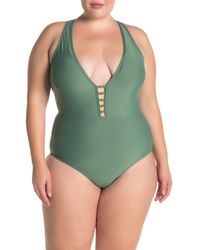 Athena V-neck Solid One-piece Swimsuit - Green