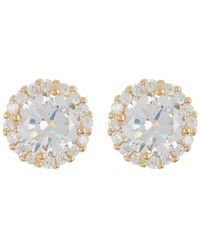 Adornia 14k Gold Vermeil Swarovski Crystal Halo Stud Earrings - Yellow