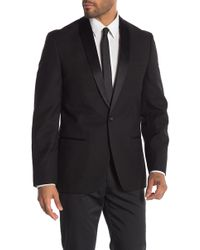 Ben Sherman Black Tonal Diamond One Button Notch Lapel Sport Coat